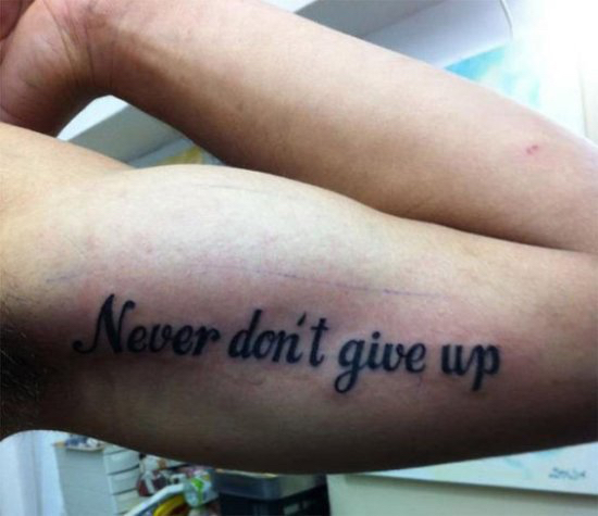 englishsurgeon.com. Arm tattoo showing poor grammar. BCK patel MD, FRCS, Salt Lake City, Utah