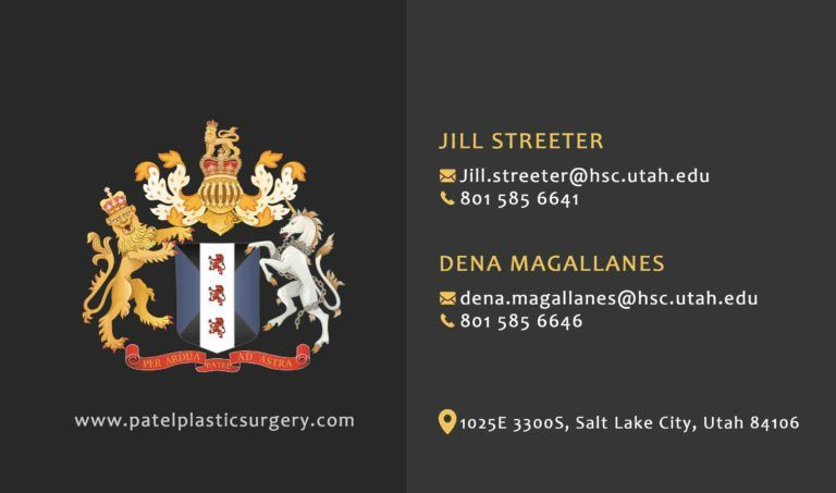 Back of the Business card of Patel Plastic Surgery showing the Crest and the telephone numbers of Dr. BCK Patel MD, FRCS, Salt Lake City, London, St George